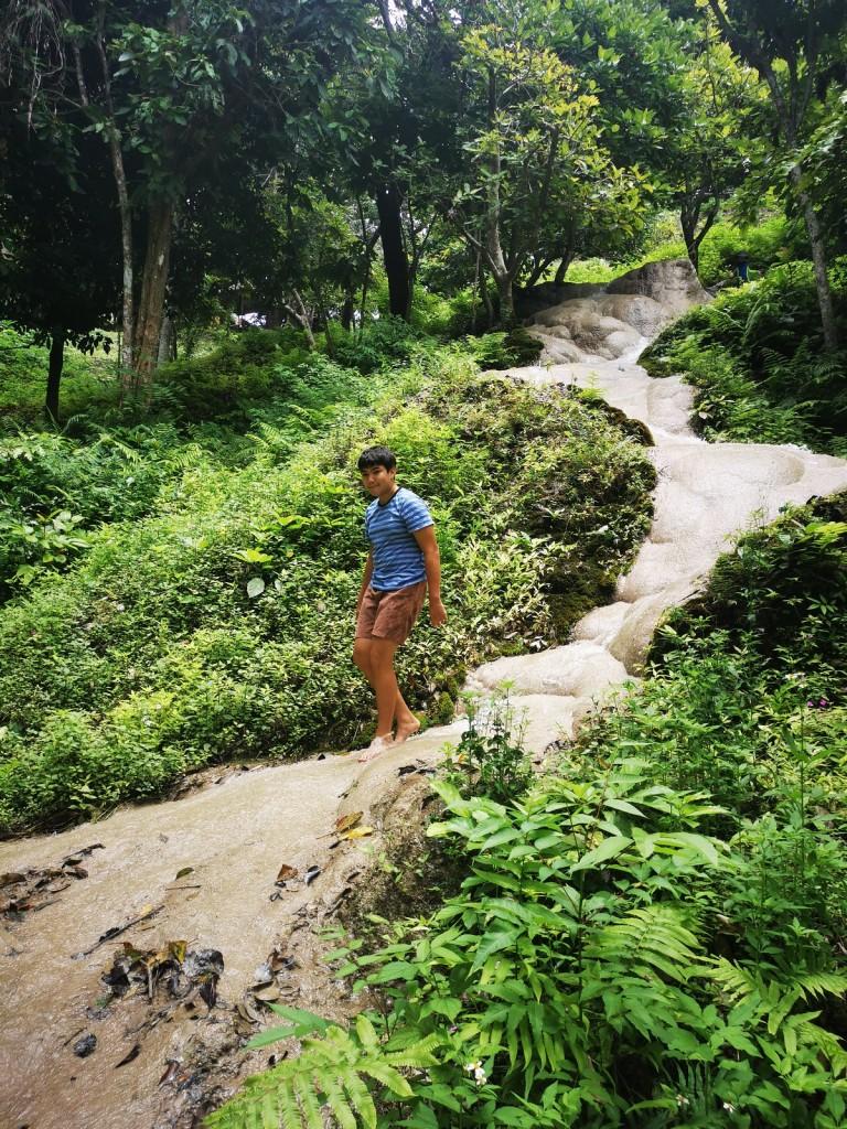 Walking down the waterfall